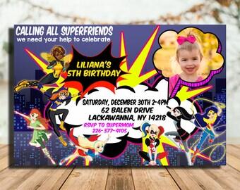 Superhero Girls Birthday Invitations,Superhero Girls Invitation,Super Hero Girls Birthday Invitation,Superhero Girls Party,Super Hero Girls