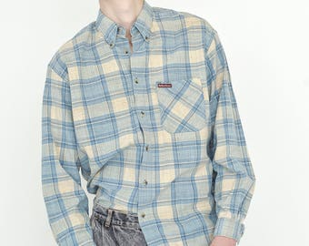VINTAGE Blue Checked Long Sleeve Button Downs Retro Shirt