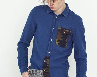 VINTAGE Dark Blue Patterned Long Sleeve Button Downs Retro Shirt