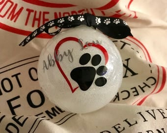 Puppy/Dog Heart and Paw Memorial/Love Glass Glitter Ornament--Medium Round