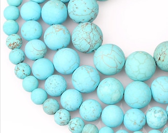 SALE! 6mm Turquoises Howlite Natural Stone Beads Stone Round Loose Beads Gemstone Bead Supply