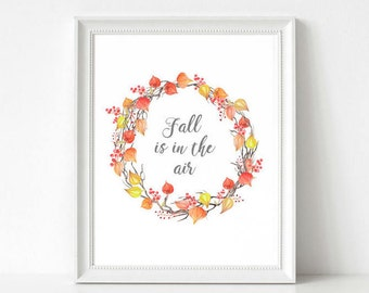 Fall Leaves Printable - Watercolor Autumn Leaves - Farmhouse Thanksgiving Decor - Fall Printable Rustic - Thanksgiving Printable Watercolor