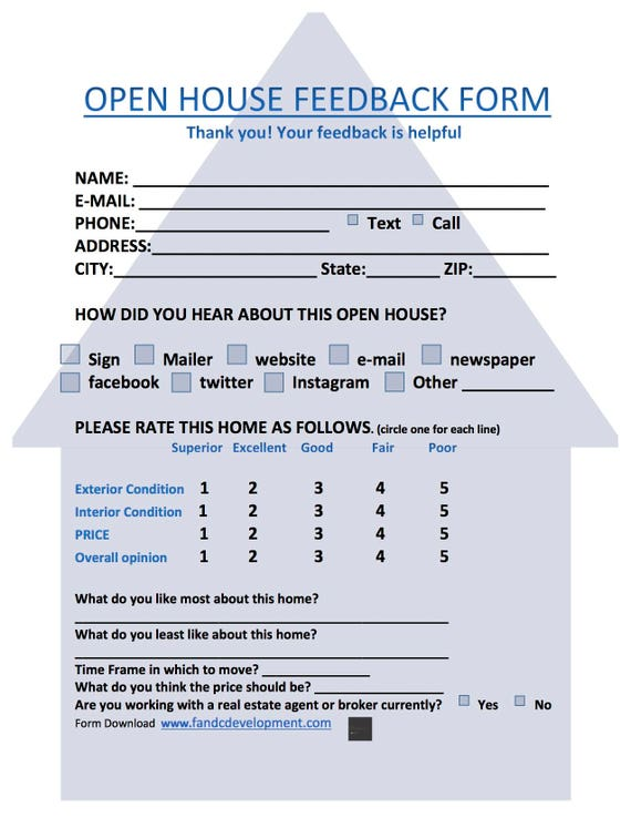 real estate forms open house feedback form open house sign