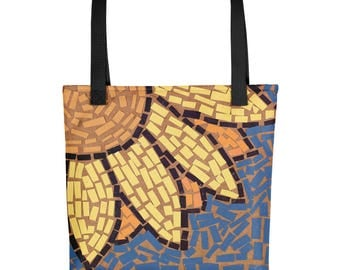 Yellow and Orange Sunflower Mosaic - Amazingly beautiful full color tote bag with black handle featuring children's donated artwork.