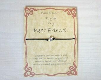 Handmade Gift card, Best Friend Wish Bracelet. Star charm, cotton waxed cord. Friendship bracelet