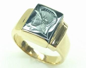 14K Gold Mens Ring Intaglio Hematite Cameo Roman Soldier Warrior