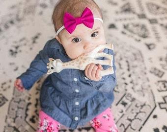 Bright Pink Fabric Hair Bow - Girls Hair Clip - Baby Headband - Alligator Clip Bow - Nylon Headband - Baby Hair Clip