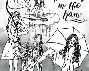 Dancing in the Rain Clip Art | Hand Drawn Graphics | Illlustration, Digital Cliparts | Girl Clip Art | Watercolour Clip Art | Umbrella