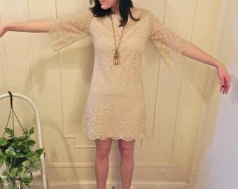 Beautiful 1960's White Lace Mini Dress