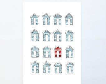 Beach Hut A5 Print