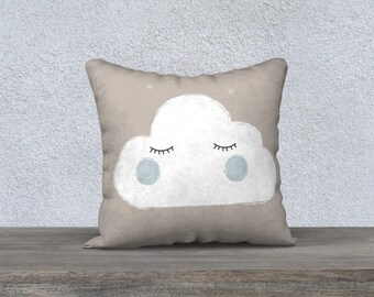"""Decorative pillow cover for children """"Bedtime"""" cloud shaped pillow case pillow-gift-baby room kids decorative cushion cloud"""
