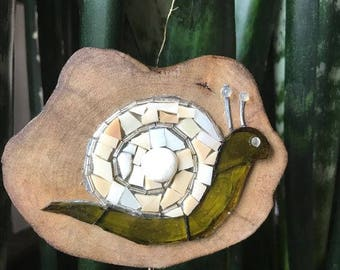 Potted Plant Buddy Snail of recycled glass, reclaimed wood, and rescued beads.