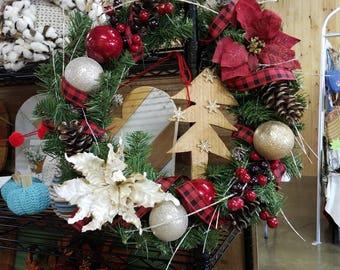 Rustic Christmas Wreath Buffalo Plaid  -Ornament Red Berries Wreath -Wreaths -Farmhouse Wreath -Holiday Wreath -Holiday Decor -Gifts -Wreath
