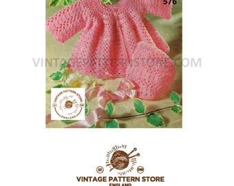 "Babies, bold lacy, crochet matinee coat and matching bonnet 19"" - 20"" chest - Vintage PDF Crochet Pattern 576"