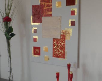 """Red Gold abstract painting gold 50 X 70 cm """"Alnaïr"""""""