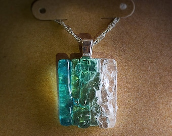 Fused glass pendant to the reflection of the unique sea with delicate silver chain