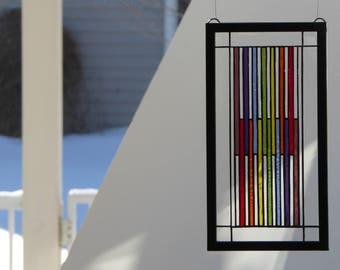 Frank Lloyd Wright Inspired Stained Glass Rainbow Suncatcher Sun Catcher
