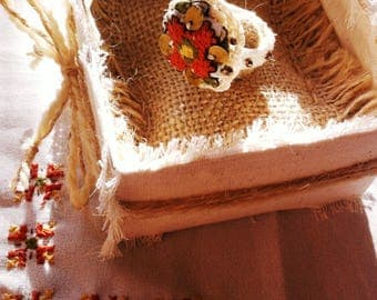 Ring with bulgarian traditional embroidery in a handmade box