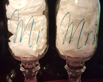 Mr & Mrs Rustic Mason Jar Glasses