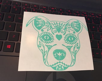 Sugar skull pitbull vinyl decal, dog mom decal