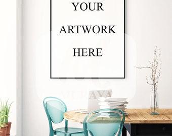 Dining Room frame mockup, Thin black frame, Styled Stock Photograpy, Bright interior, PSD Mockup, Digital Item, Natural Lighting