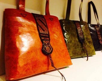 Women's craft Morocco leather handbag