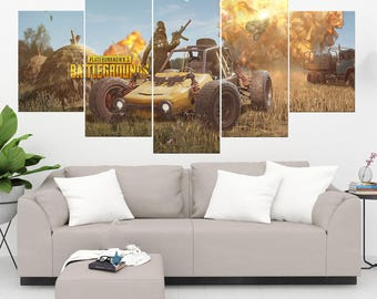 Player Unknown Battlegrounds - 5 Panel / Piece Canvas Set PUBG Wall Art Print PUBG Poster Artwork Decor Painting Decal Mural Decoration