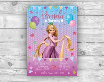 Rapunzel Invitation, Tangled Invitation, Rapunzel Invite, Rapunzel Birthday Invitation, Rapunzel Party Invitation, Princess Party Invitation