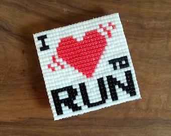 I LOVE TO RUN - The square one Miyuki beads