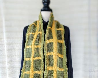 Luxury, wool, chiffon silk, nuno, felt, scarf, soft, original,