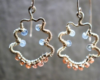 Happy Dangly Earrings, Sterling Silver Frames adorned with Blue Aquamarine and Padparadscha Orange Sapphires