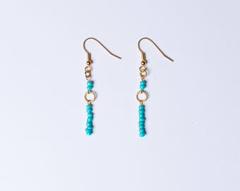 Turquoise and Gold Beaded Drop Earrings