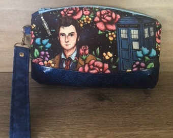 Clematis Clutch, Doctor Who Florals, Tardis, Wristlet, Makeup Bag, Zipper Pouch, Evening Bag, Glitter Vinyl, Pencil Pouch