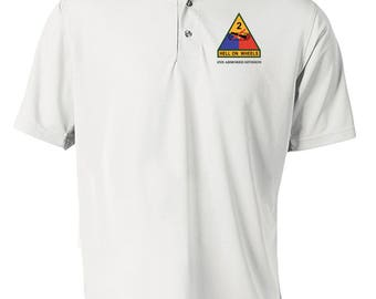 2nd Armored Division Embroidered Moisture Wick Polo Shirt -3217