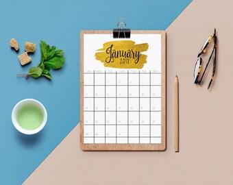 January 2018, Printable Calendar, January Printable