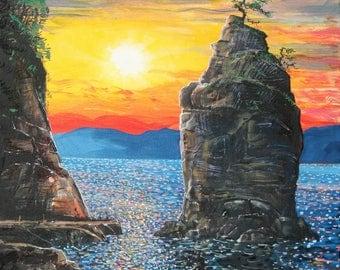 Siwash Rock,  Acrylic on stretched canvas , 24 x 30 inches , original artwork, 2017