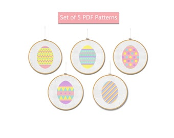 Easter eggs cross stitch pattern Set of 5 patterns Eggs pattern pdf Easter cross stitch Easter cards Easter wall decor Eggs home decor chart
