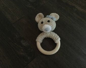 Nice teething ring with rattle hand made