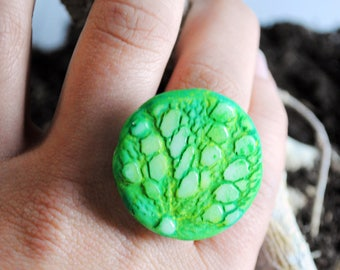 Leaves and dew-maxi round ring