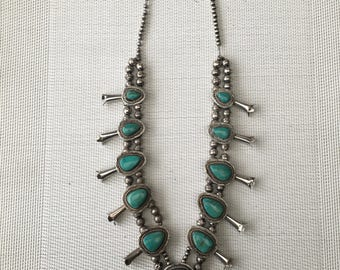 Old NAVAJO squash blossom turquoise necklace, solid STERLING Silver 925