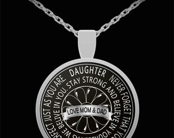 Daughter necklace, To Daughter from Mom & Dad, Inspirational Gift, Birthday gift for daughter, wedding gift for daughter, Graduation gift