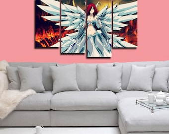 Fairy Tail Erza Scarlet Poster Fairy Tail Canvas Print Wall Decor Wall Art Large Print Multi Panel Home Decoration Birthday gift Canvas art