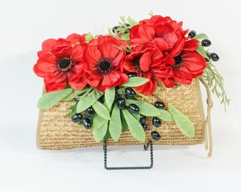 Straw clutch with silk poppies, leaves and faux berries