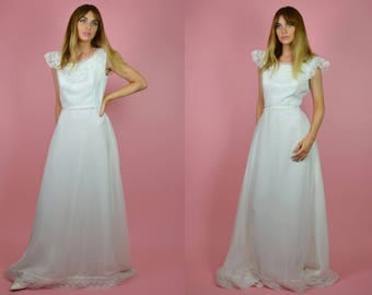 Vintage 1970s Lace Frill WEDDING Dress