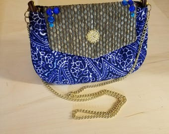 Blue Paisley Print Shoulder Bag With Gold Chain