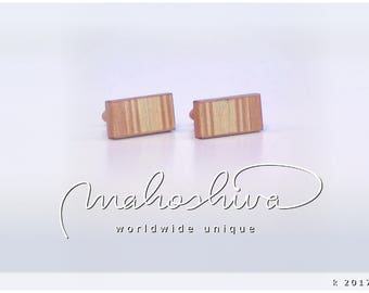 wooden cuff links wood flamed maple maple handmade unique exclusive limited jewelry - mahoshiva k 2017-86