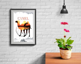 Camel Art Print, Printable decor frame wall art.