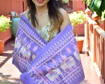 Thai silk handwoven scarf/Elephant pattern/Lukkaew mudmee brocade