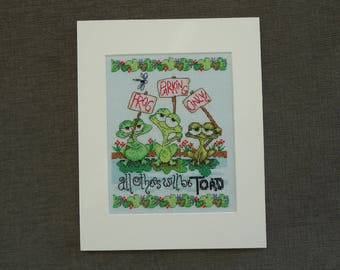 Frog Parking Only Completed Cross-Stitch