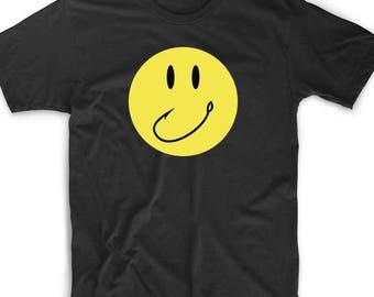 Smiley Fishing Hook T Shirt Custom Tee Emoji Meme Geek Nerd Gamer Funny Unique Fun Fish Sports Outdoors Hunting Fisherman